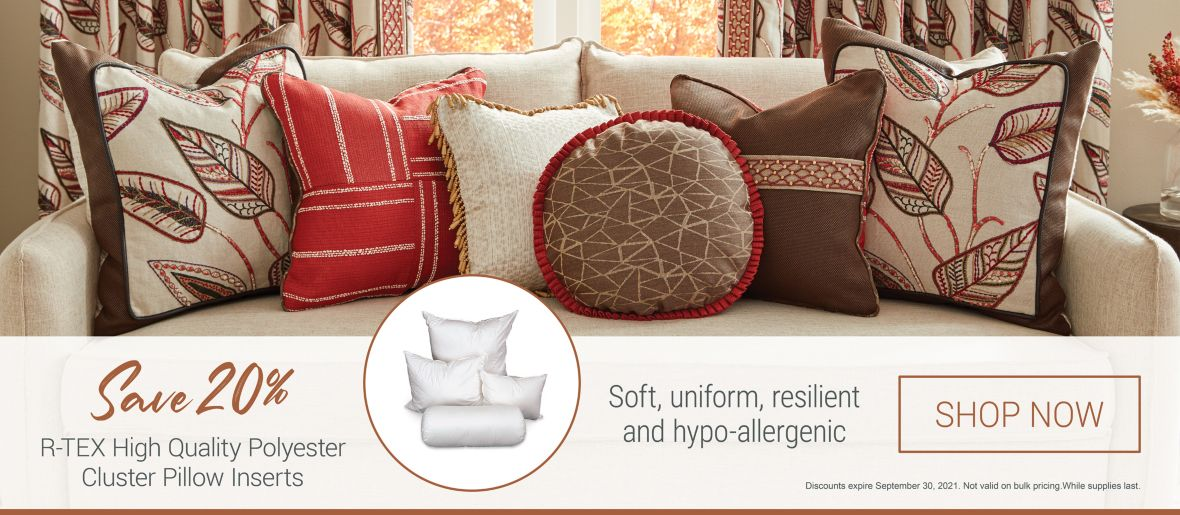 Save 20% on R-TEX High Quality Polyester Cluster Pillow Inserts