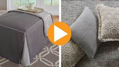 Fabricating an Ottoman Slipcover with Decorative Throw Blanket and Pillow Accessories