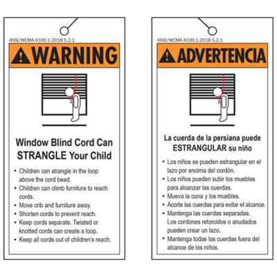 Safety Warning Tag - Accessible Operating Cord Warning Tag